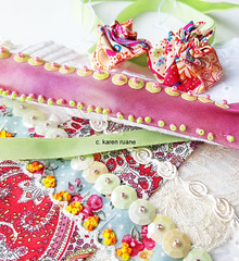 sequins, ribbon, beads and Suffolk puffs