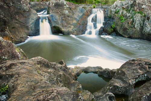 australia queensland yandina sunshinecoast wappa river creek water waterfall pool rocks cliff landscape timeexposure