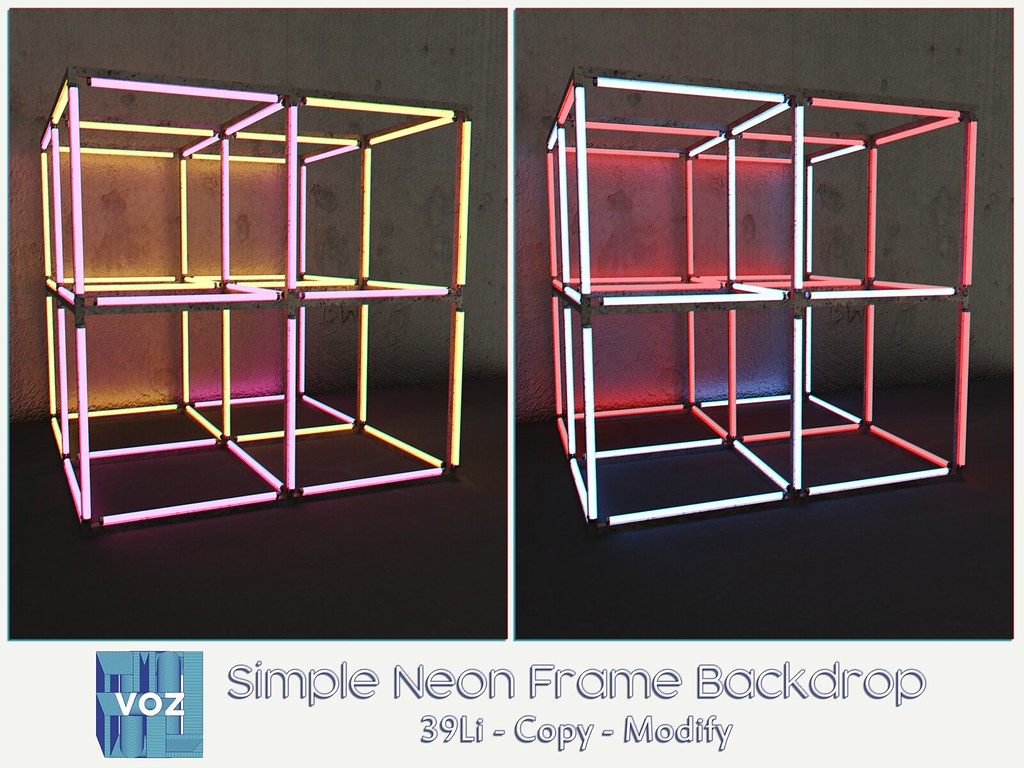 Group Gift - Simple Neon Frame Backdrop - TeleportHub.com Live!