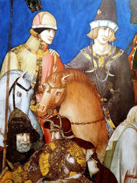 Pietro Lorenzetti. Soldados (detalle del fresco  La Crucifixión (c.1325)