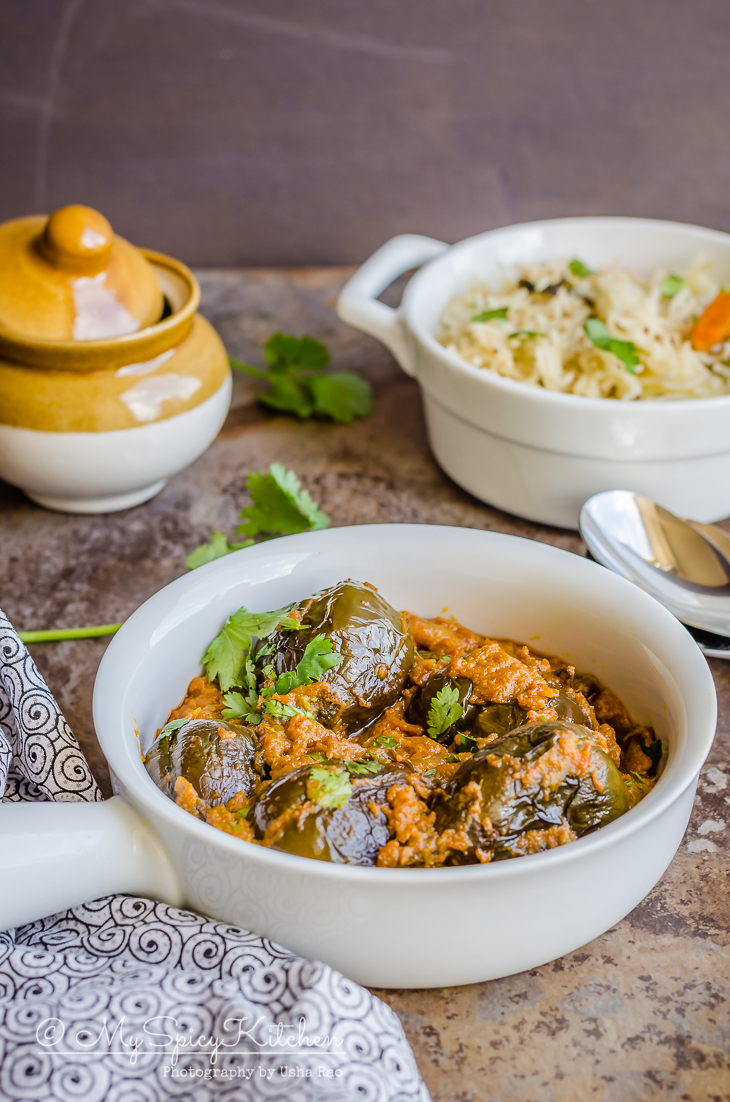Stuffed baby eggplant curry - a side for steamed rice and flavored rice.