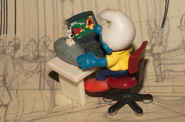 DSC_0762 r Puffo redattore con fondo Tintin matita Ottokar