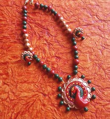 Terracotta Jewellery Peacock Necklace Set Red