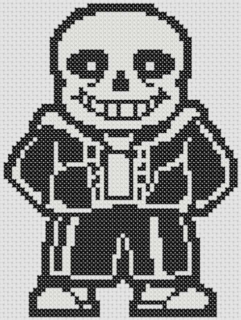 Preview of Gaming-inspired cross stitch pattern: Undertale's Sans