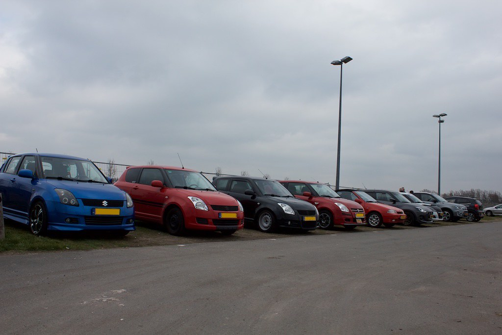 Suzuki Swifts lined up during the meet