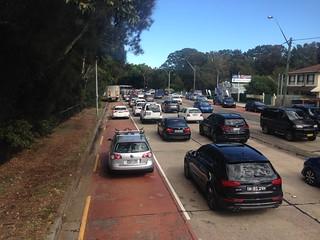 One vehicle parked in bus lane near Mona Vale, Sydney