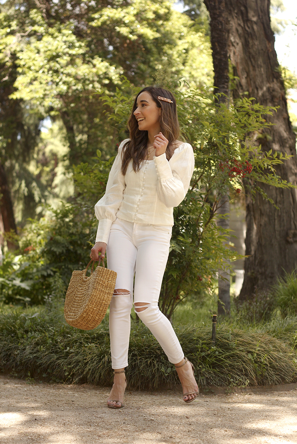 White Linen Top jeansstraw bag street style outfit 20197