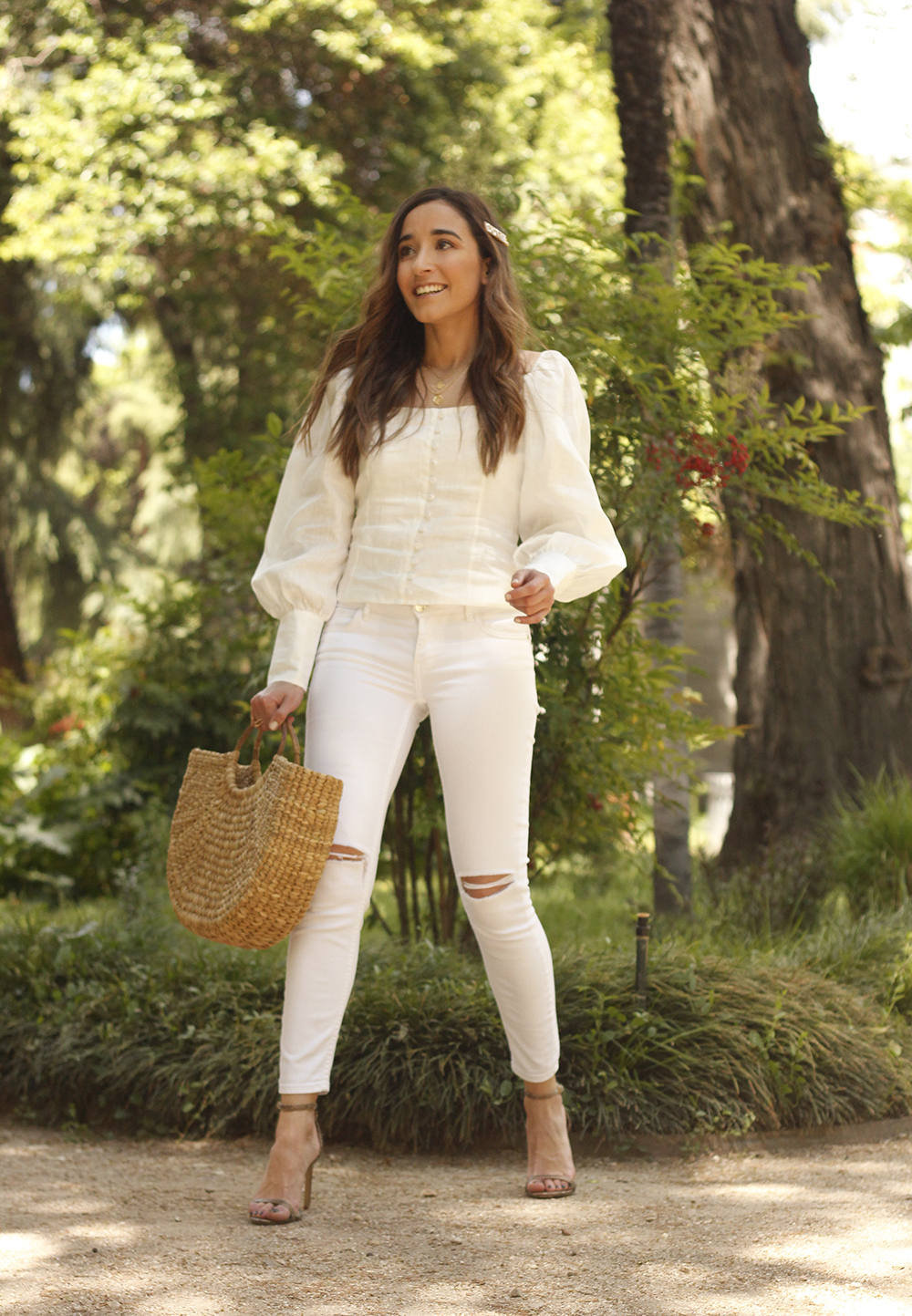 White Linen Top jeansstraw bag street style outfit 20196
