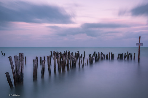 Long exposure [ 120 seconds] of old breakwall in the Gulf of Mexico - Holbox, Mexico