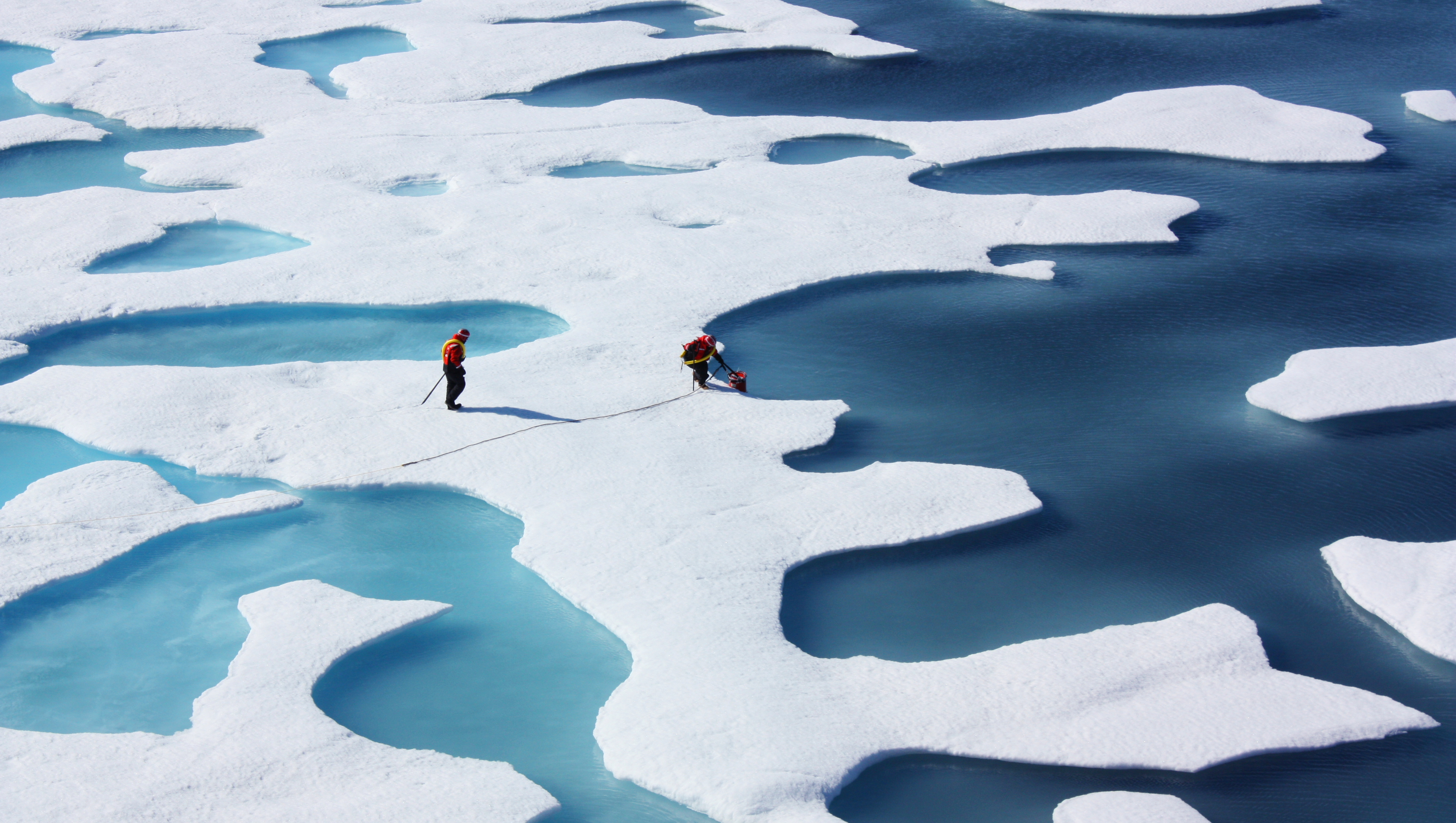 Two researchers from the ICESCAPE mission standing on icebergs and dipping a bucket into the water.