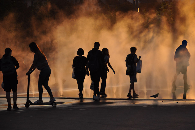 Urban life Silhouettes at Sunset