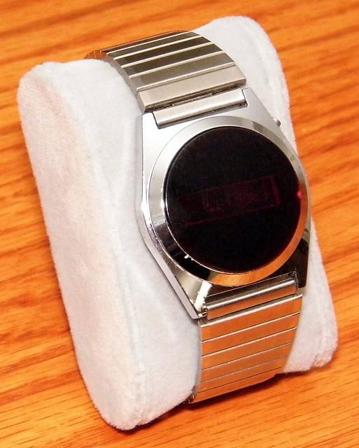 Vintage Timeband Men's Digital Quartz Watch, Red LED Display, Original Bracelet, Inside Back Cover Inscribed Kienzle Germany, Circa 1976