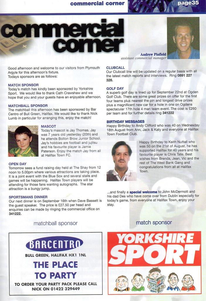 21-08-1999 Halifax Town 0-1 Plymouth Argyle 9