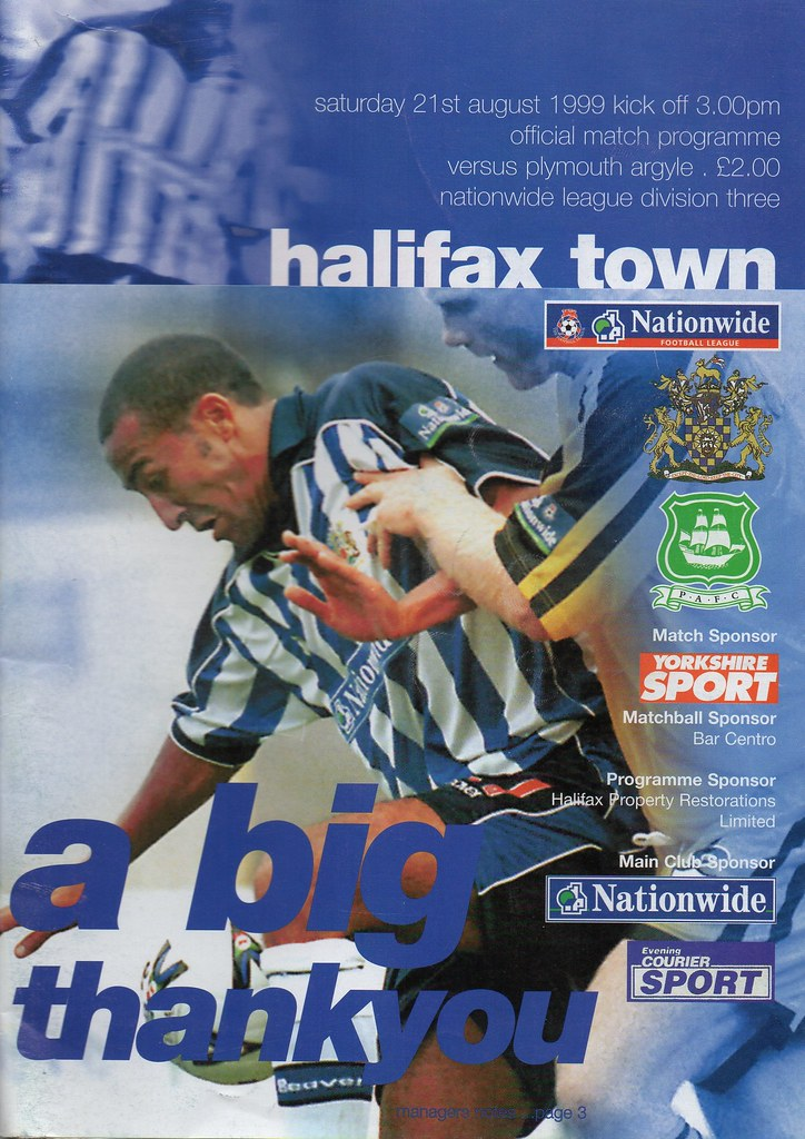 21-08-1999 Halifax Town 0-1 Plymouth Argyle 1 Justin Jackson