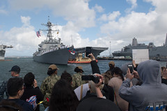 Friends and family watch as USS Spruance (DDG 111) returns home to San Diego, May 20. (U.S. Navy/MC2 Abigayle Lutz)