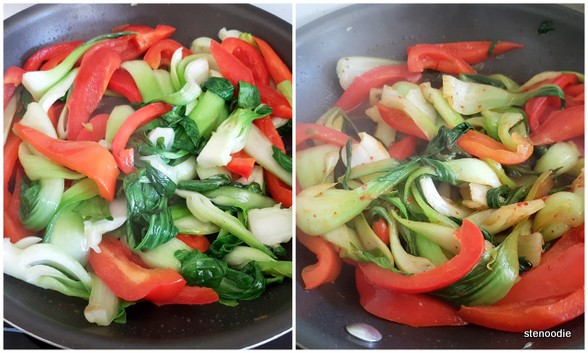 red peppers and bok choy in pan