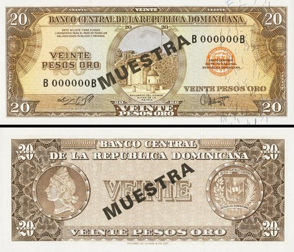 20 Pesos Oro Dominikánska republika 1964 P102a2-s