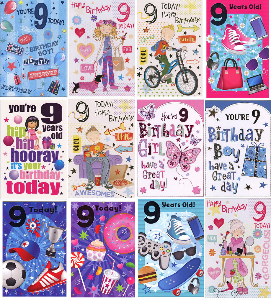 BOY GIRL YOU/'RE 9 TODAY  9TH BIRTHDAY CARD 1STP/&P