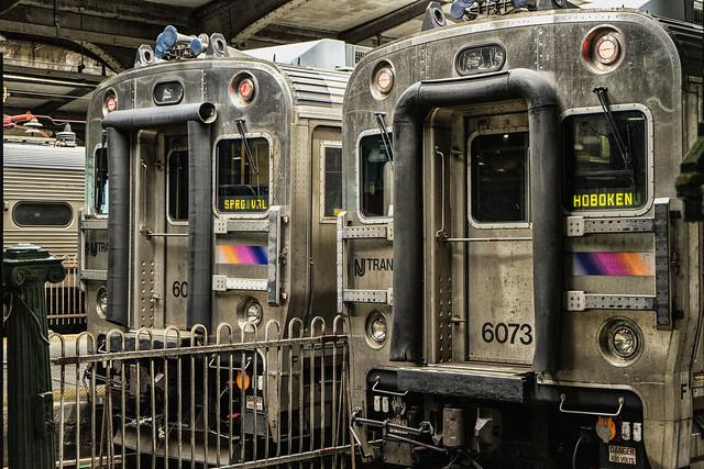 Trains at Hoboken Terminal