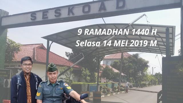 Silaturahmi Ustadz Dani Abdul Karim di SESKOAD (sekolah staf komando angkatan darat) kota Bandung pada bulan Ramadhan 1440 H.  Foto bersama Bapak Asmadi
