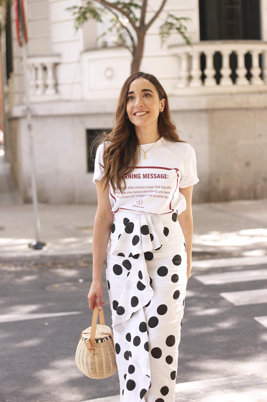 midi linen polka dots skirt black heels street style outfit 20193