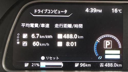 大阪府吹田市到着時 日産リーフ e+(62kWh)メーター デフロスターON