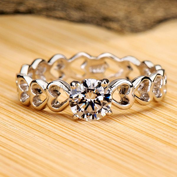 0.5 Carat Diamond Platinum Plated Heart Shaped Women Ring by Gullei.com