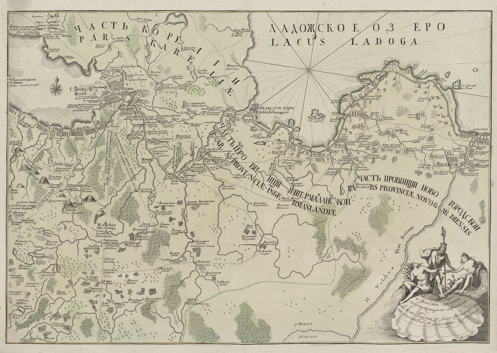 1730. Карта части Ладожского озера и Финского залива Ивана Гриммеля