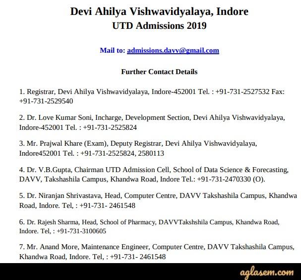DAVV Admission 2019 - Devi Ahilya Vishwavidyalaya, Indore | AglaSem