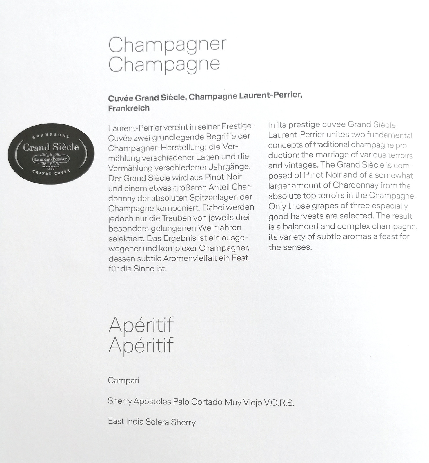 Champagne and apéritif