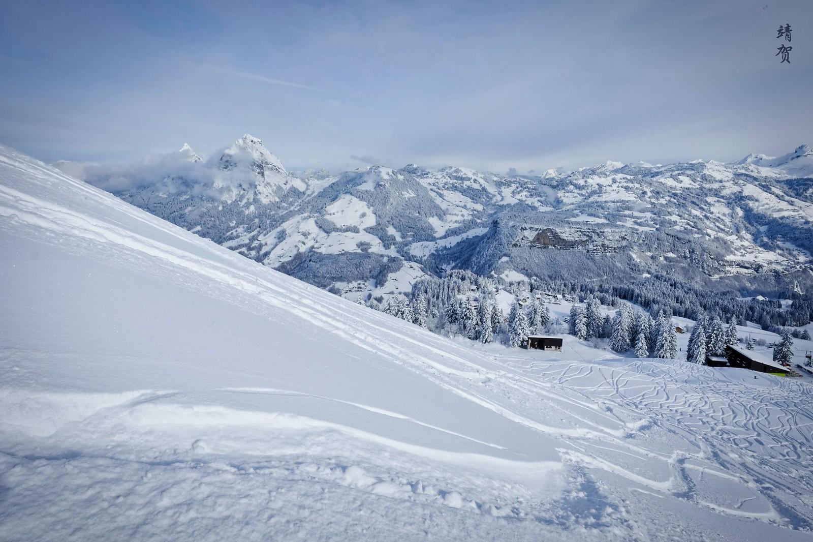 Ski tracks to Stoos