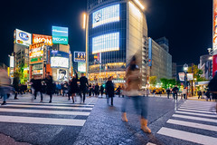 TOKYO, JAPAN - JANUARY 12, 2016: Pedestrians cross at Shibuya Crossing. It is one of the world's most famous scramble crosswalks.