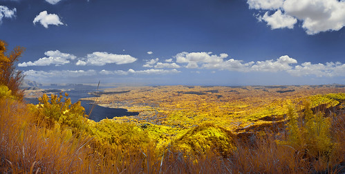 'Taal Volcano and Lake', Tagaytay, Philippines (Infrared Photography- False Colors + Panorama) ​