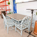 Blue painted table and chairs garden E150