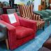 Red fabric swivel chair E50