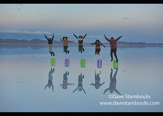 The world's largest mirror, reflection on the salt flats of the Salar de Uyuni, Bolivia
