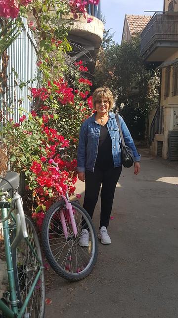 ירושלים שוק מחנה יהודה סמטאות ירושלים בגונוויליה אופניים צילום עצמי פרידה פירו ציירת אמנית עכשווית ישראלית