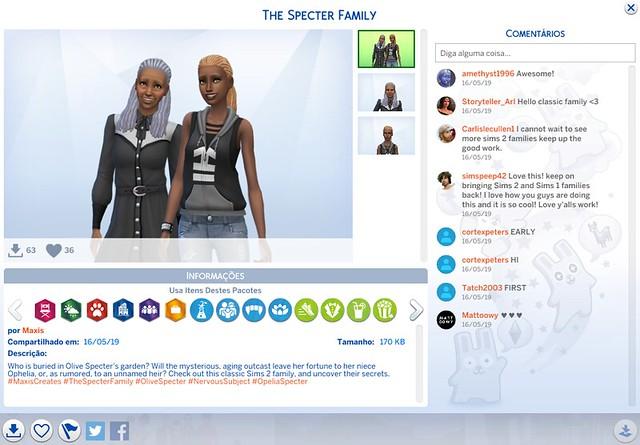 Família Espectro do The Sims 2 de Volta ao The Sims 4