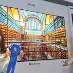 16일(현지시간) 미국 새너제이에서 열린 SID 2019에서 LG디스플레이 88인치 8K OLED가 최고상인 'People's Choice 어워드'(디스플레이 부문)를 수상했다. 사진은 LG디스플레이 모델들이 'People's Choice 어워드' 상패를 들고 있는 모습.