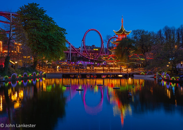 Temple Tower and The Demon, Tivoli Gardens, Copenhagen during blue hour