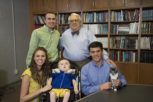 Pictured, front from left, are Sara Heatherly, Porter Heatherly, Professor Doug Martin; second row from left, Michael Heatherly and Dr. Henry Baker, director emeritus of Auburn's Scott-Ritchey Research Center.