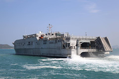 USNS Fall River (T-EPF 4) approaches the pier in Sattahip, May 18. (Royal Thai Armed Forces photo)