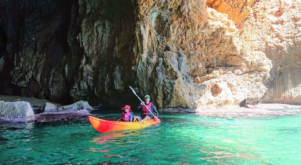 Kayaking and snorkeling in caves near Javea