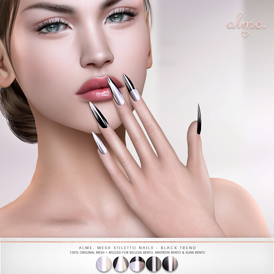 "Alme. for Shiny Shabby- ""Alme Mesh Stiletto nails//Black Trend"" ♥"