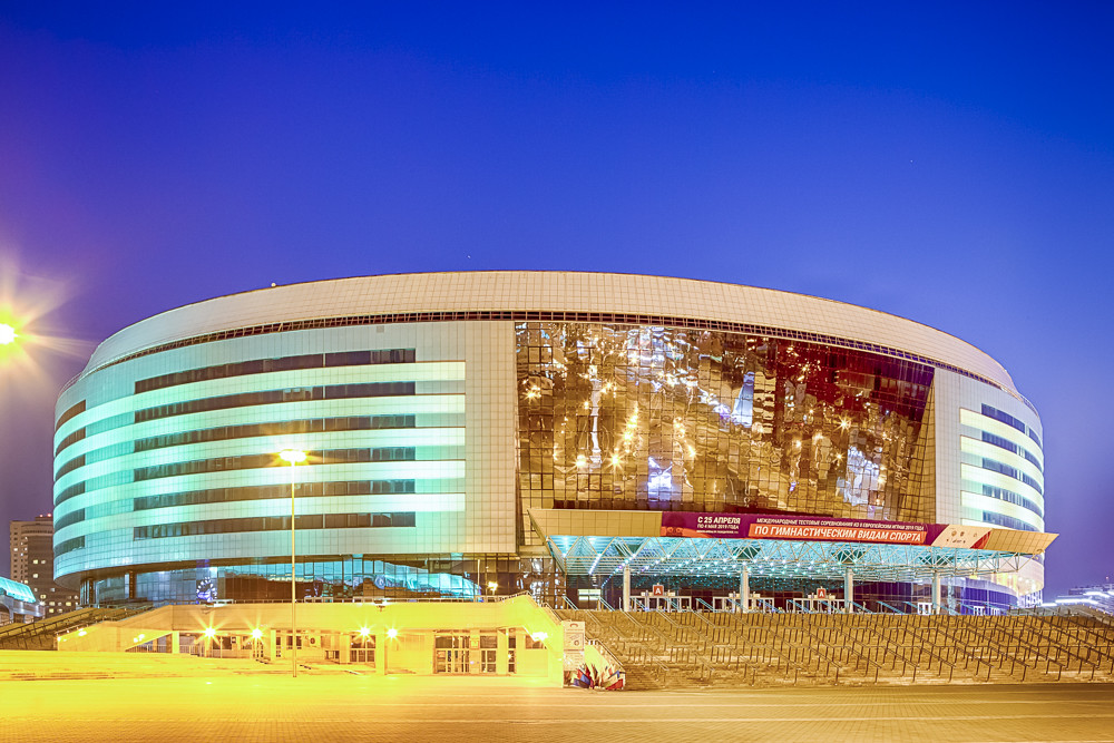Minsk- Belarus, April 23, 2019: Minsk Arena Complex as the Main Sport Venue with Greenish Illumination for the Second European Games in April 23, 2019 in Minsk