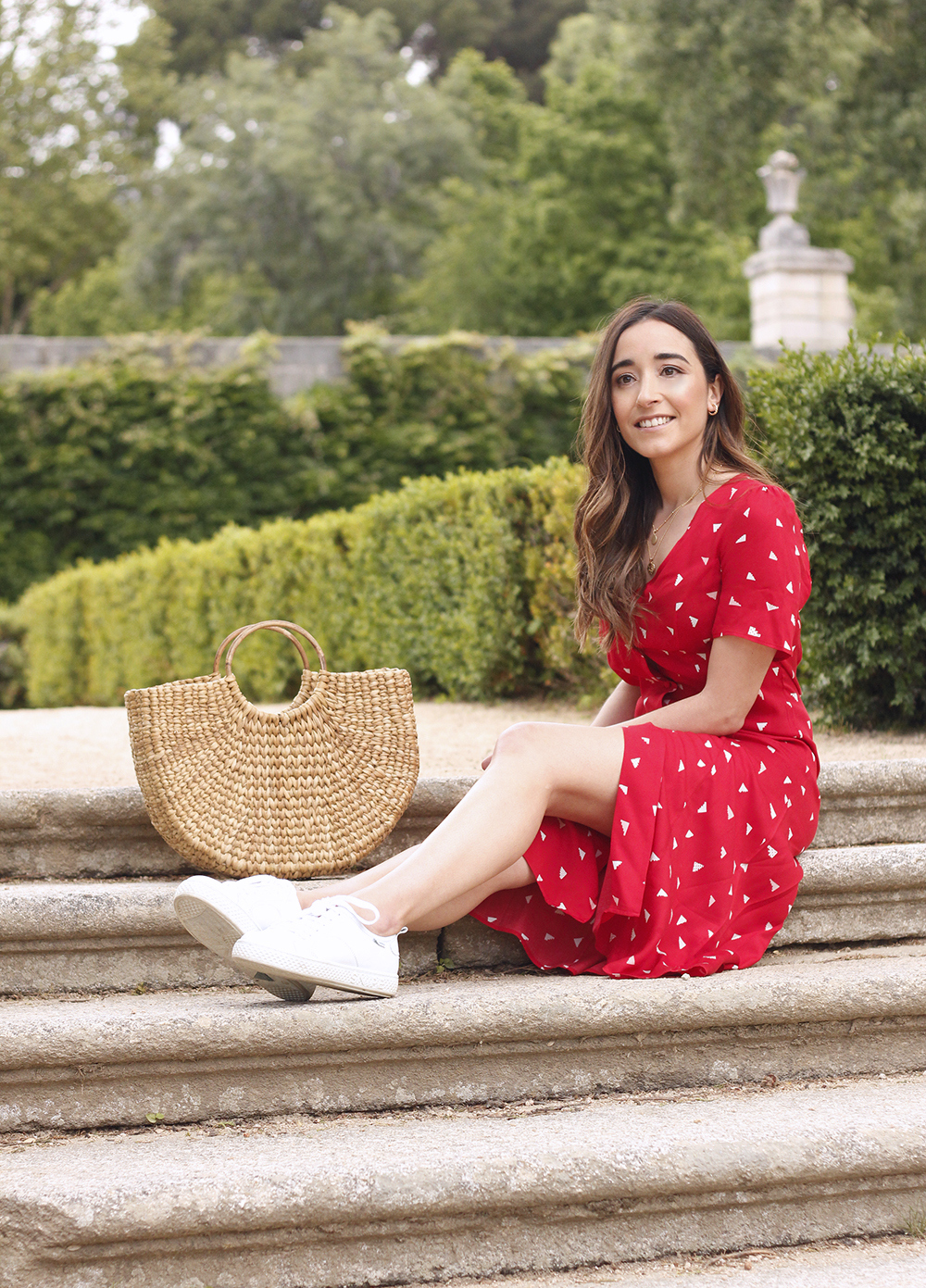 red midi summer dress white sneaker straw bag street style outfit 201912