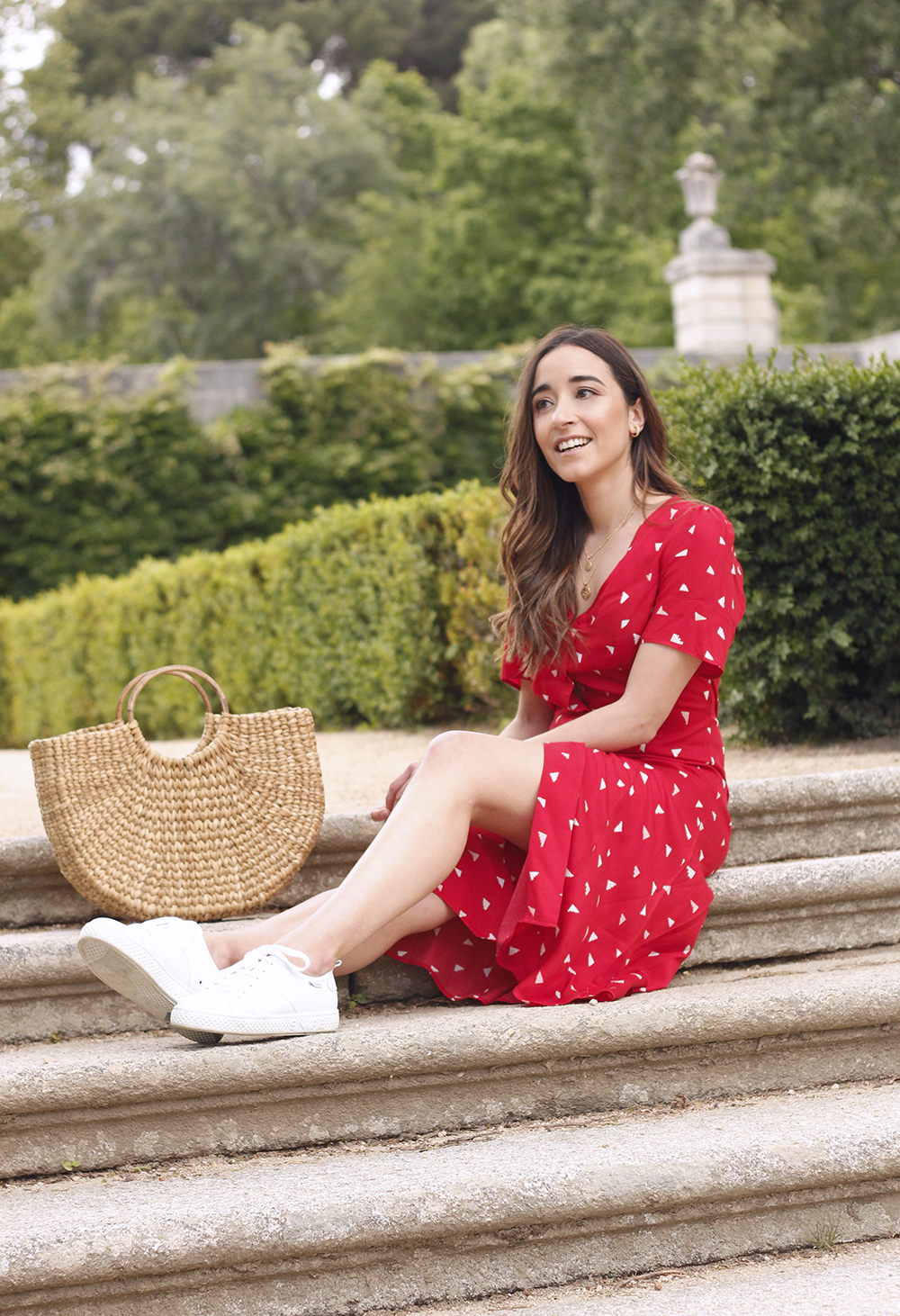 red midi summer dress white sneaker straw bag street style outfit 201910