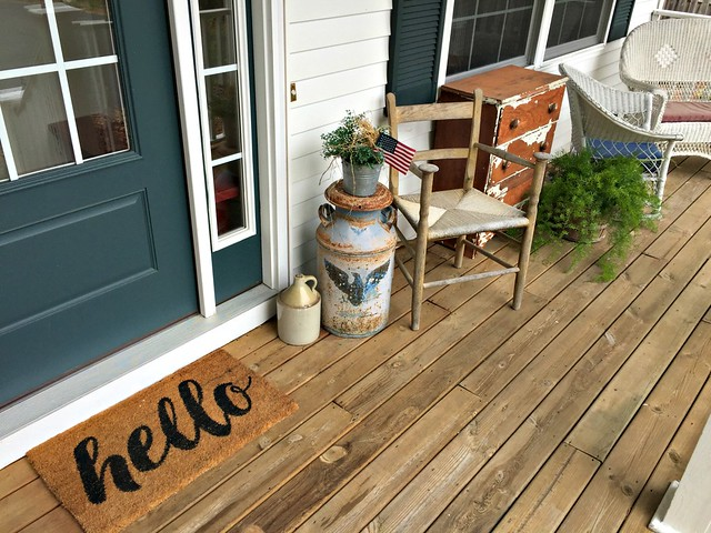 hello welcome mat on front porch