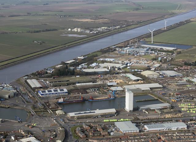 Kings Lynn dock area - Norfolk UK aerial image