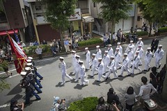 Sailors from USS Stethem (DDG 63) and Marines assigned to Camp Fuji march in the 80th annual Shimoda Black Ship Festival parade, May 17. (U.S. Navy/MC1 Jeremy Graham)